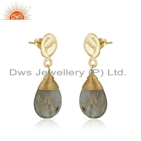 Exporter Womens Brass Gold Plated Fashion Labradorite Gemstone Drop Earrings