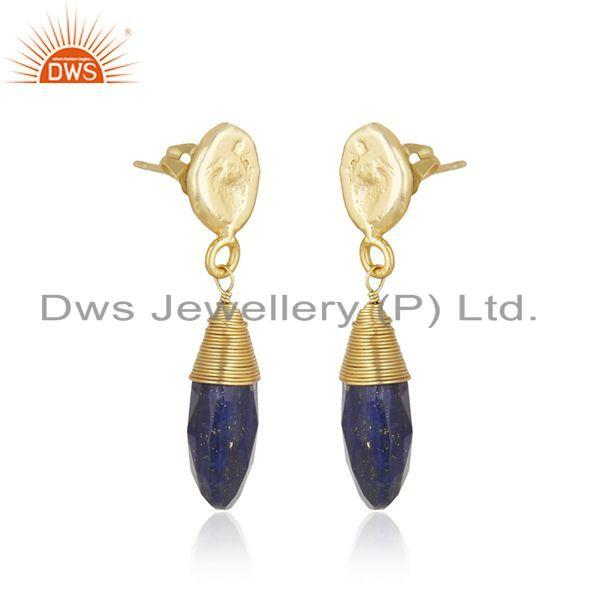 Exporter Lapis Lazuli Gemstone Gold Plated Brass Drop Fashion Earrings Jewelry