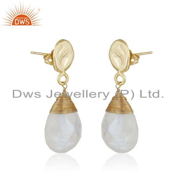 Exporter New Rainbow Moonstone Gemstone Brass Gold Plated Fashion Dro Earrings