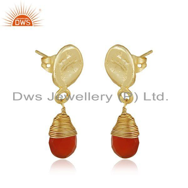Exporter Carnelian Gemstone Designer Brass Fsahion Dro Earrings Jewelry