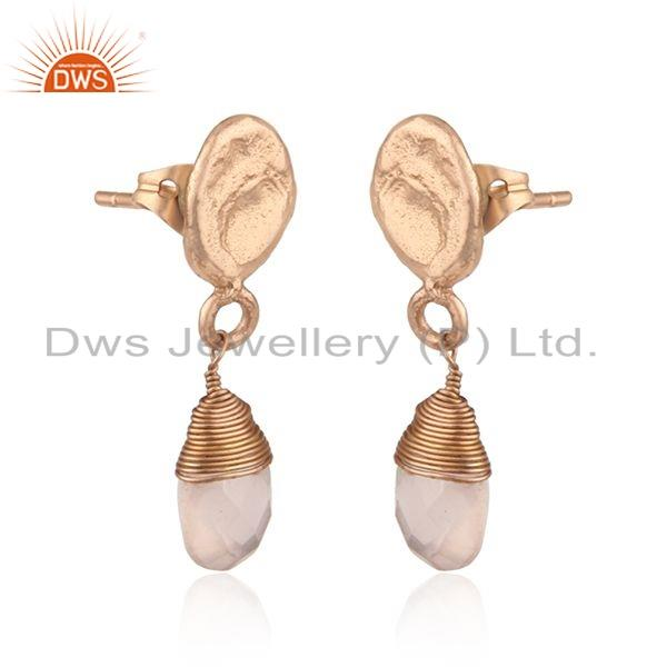 Exporter Rose Quartz Gemstone Rose Gold Plated Drop Fashion Earrings Jewelry