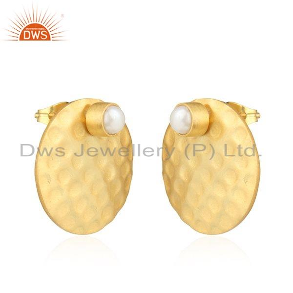 Exporter Texture Gold Plated Brass Designer Pearl Gemstone Stud Earring Jewelry