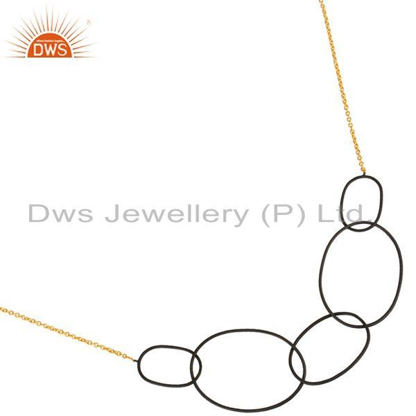 Exporter 14K Gold Plated & Black Oxidized Sterling Silver Link Chain Necklace For Women`s