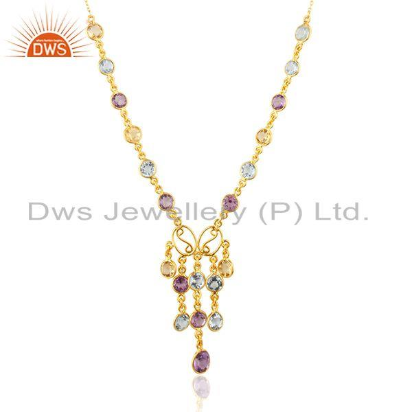 Exporter Natural Multi Gemstone Gold Plated Sterling Silver Women Chain Neckace