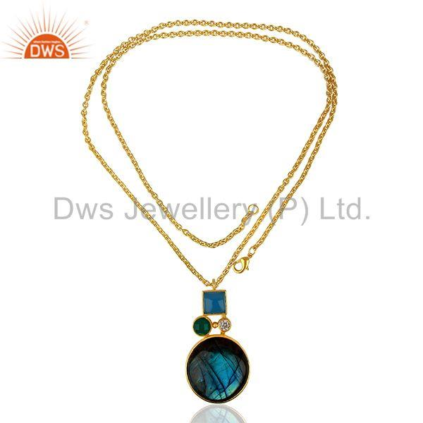 Exporter Green Onyx Labradorite Gemstone Gold Plated Fashion Pendant Supplier