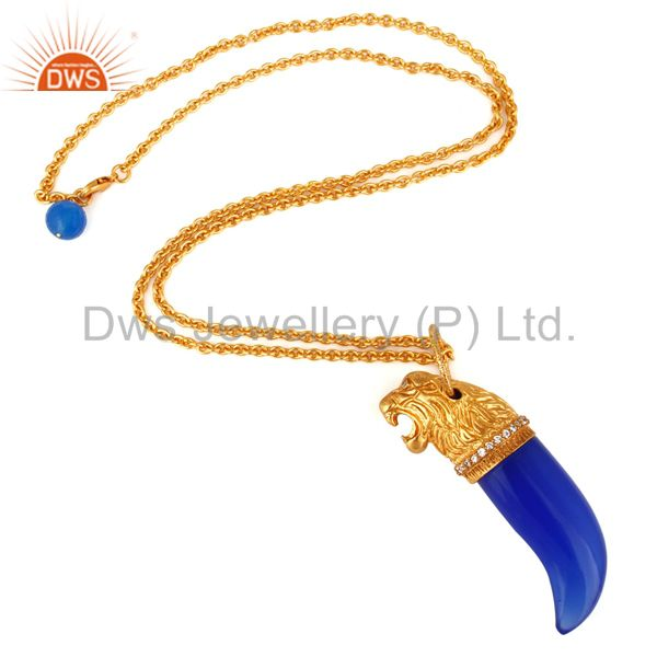 Exporter 22K Yellow Gold Plated Brass Blue Chalcedony And CZ Panther Pendant With Chain