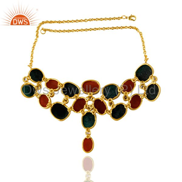 Exporter 24K Yellow Gold Plated Brass Green And Red Aventurine Bib Necklace With CZ