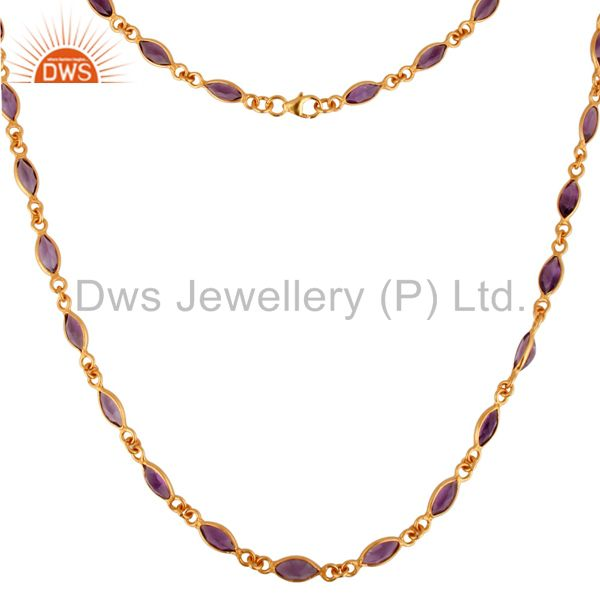 Exporter 18K Yellow Gold Plated Sterling Silver Amethyst Gemstone Link Chain Necklace