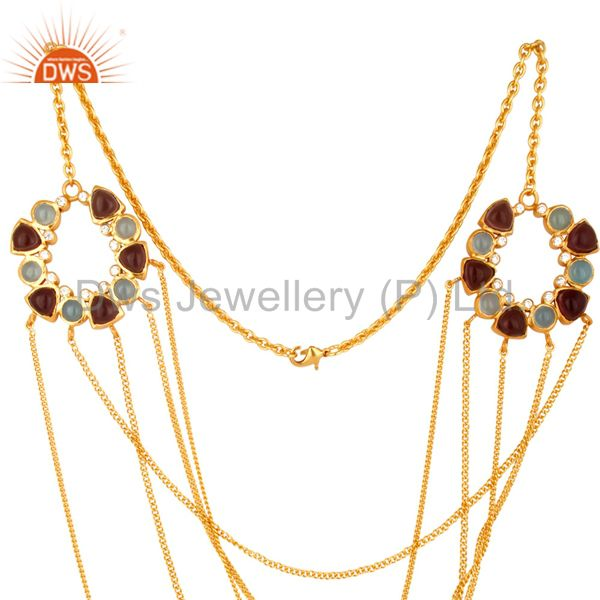 Exporter 22K Yellow Gold Plated Brass Hydro Amethyst And Chalcedony Chain Necklace