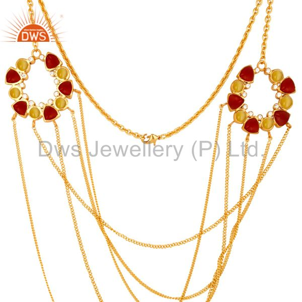 Exporter 22K Yellow Gold Plated Brass Moonstone And Red Coral Chain Necklace