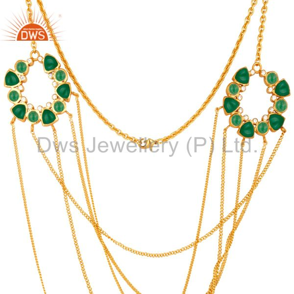Exporter 22K Yellow Gold Plated Brass Green Aventurine And CZ Multi Chain Necklace