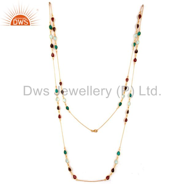 Exporter 18K Yellow Gold Plated Sterling Silver Garnet And Green Onyx Link Chain Necklace