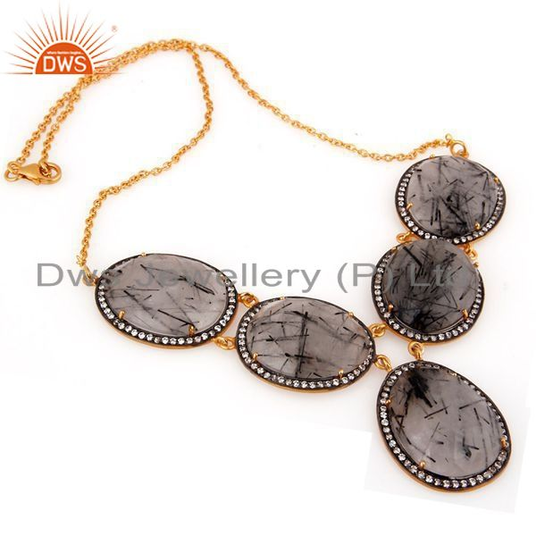 Exporter 22K Yellow Gold Plated Sterling Silver Tourmalated Quartz & CZ Fashion Necklace