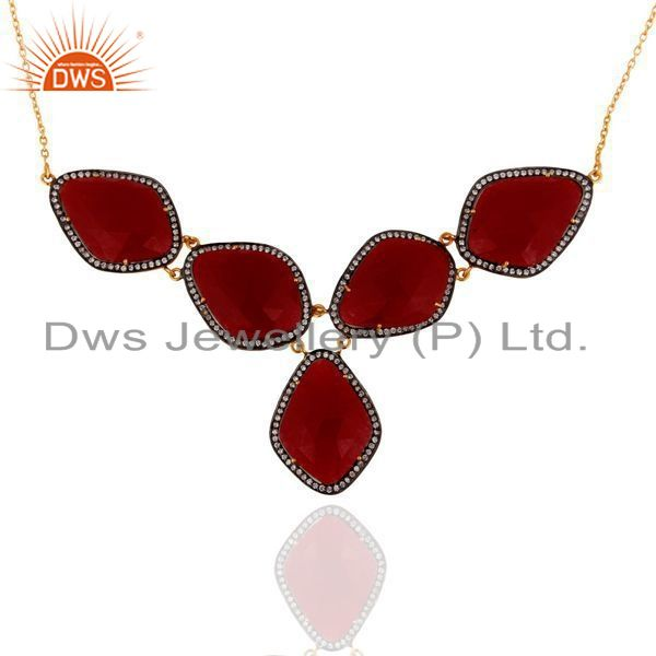 Exporter 24K Yellow Gold Plated Sterling Silver Red Aventurine And CZ Fashion Necklace