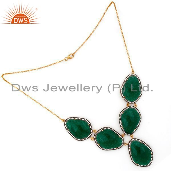 Exporter 24K Yellow Gold Plated Sterling Silver Green Aventurine And CZ Fashion Necklace