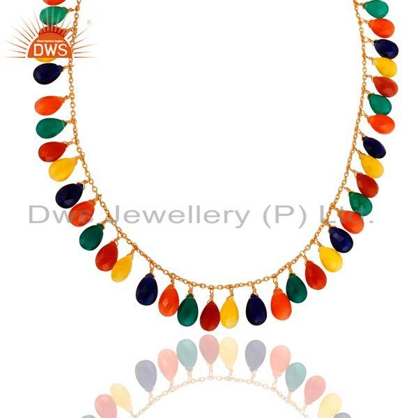 Exporter 18K Gold Plated 925 Sterling Silver Multi Colored Gemstone Drop Necklace
