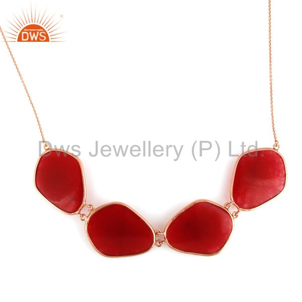 Supplier of Red Aventurine Gemstone Bezel-Set Sterling Silver Necklace With Rose Gold Plated