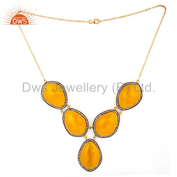 Exporter 18K Gold Plated Sterling Silver Glass Citrine And CZ Womens Fashion Necklace