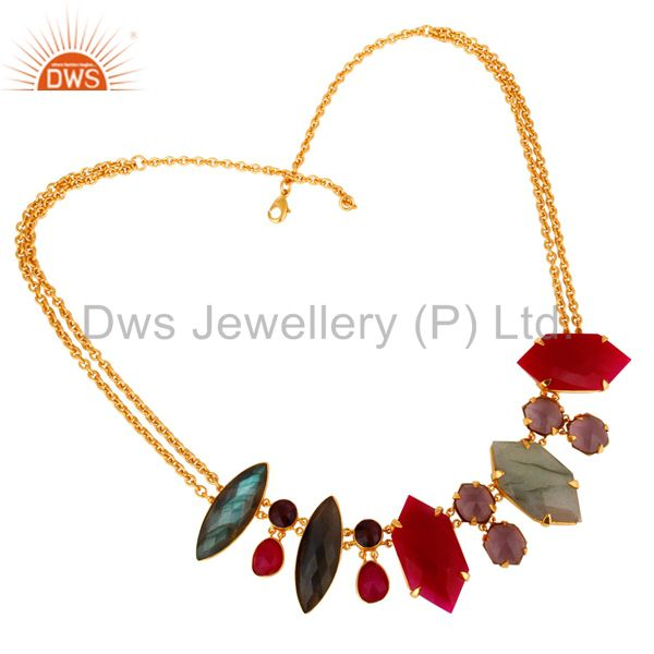 Exporter 22K Yellow Gold Plated Labradorite & Chalcedony Designer Necklace