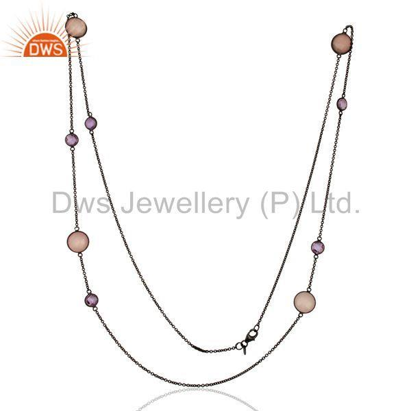 Exporter Rhodium Plated 925 Silver Gemstone Chain Necklace Jewelry Supplier