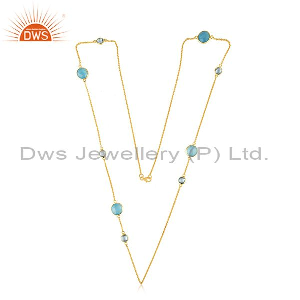 Exporter Handmade Gold Plated 925 Silver Gemstone 32inch Chain Necklace Supplier