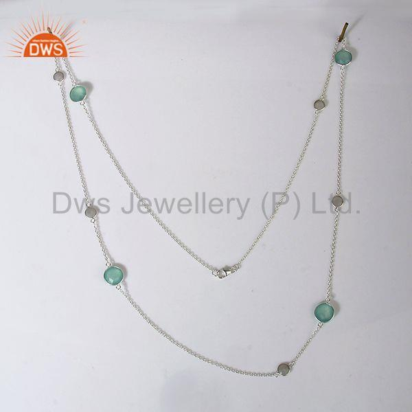 Exporter Rainbow Moonstone Aqua Chalcedony Gemstone Chain Necklace Jewelry