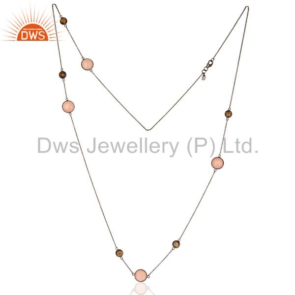 Exporter Smoky Rose Chalcedony Long Station Multy Stone Chain Oxodized Silver Necklace
