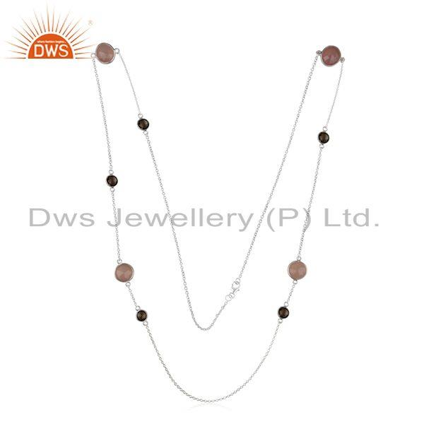 Exporter 92.5 Sterling Silver Handmade Multi Gemstone 32inch Chain Necklace Manufacturer