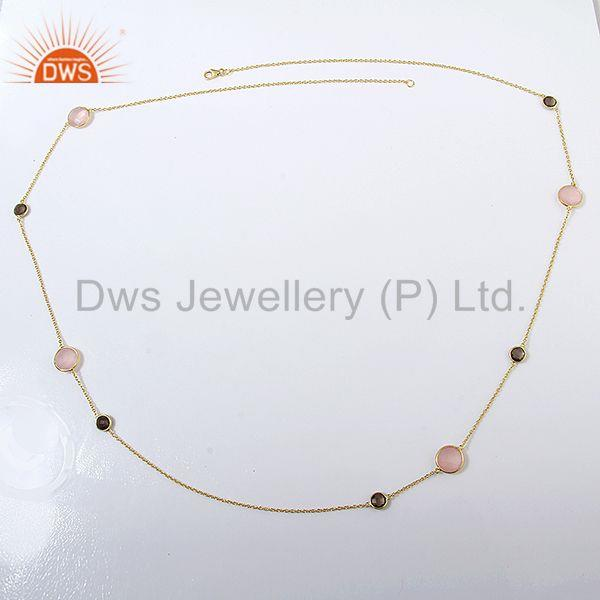Exporter Smoky and Rose Chalcedony Gemstone 925 Silver Necklace Jewelry