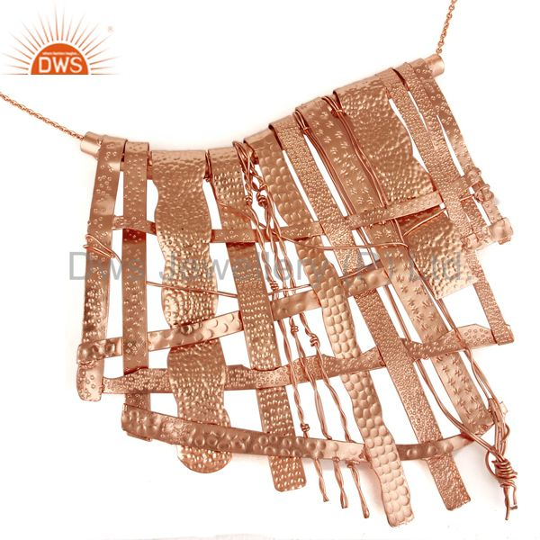 Exporter 18K Rose Gold Plated Handmade Textured Design Brass Necklace Jewelry