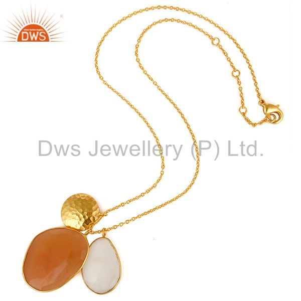 Exporter White and Peach Moonstone 18K Gold Plated Necklace with Disc Charm