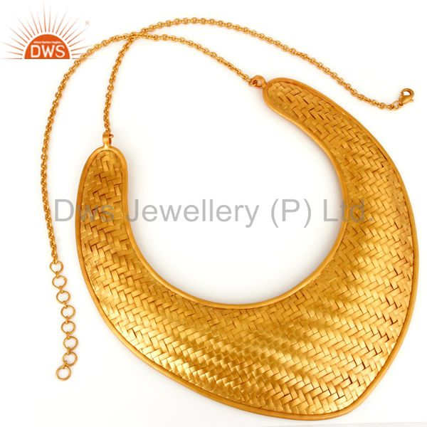 Exporter 22K Yellow Gold Plated Brass Wire Woven Mesh Designs Statement Bib Necklace