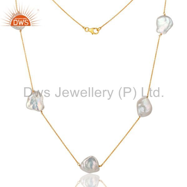 Exporter Natural White Pearl Beaded 18K Gold Plated Sterling Silver Necklace 30 inch