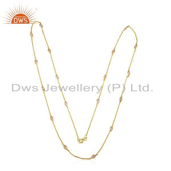 Exporter Rose Chalcedony Gemstone Designer 18k Gold Plated Silver Chain Necklace Jewelry