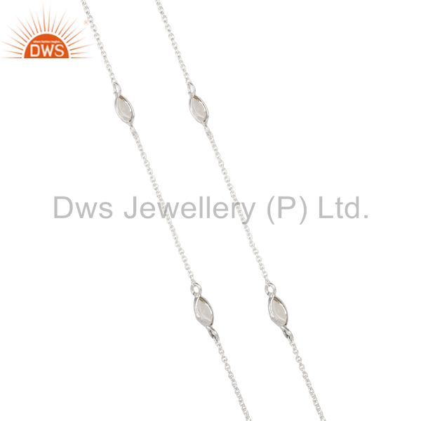 Exporter Solid 925 Sterling Silver Crystal Quartz Gemstone Bezel Set Chain Necklace