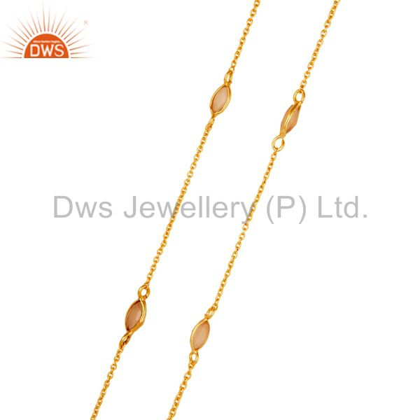 Exporter 18K Gold Plated Sterling Silver Dyed Chalcedony Gemstone Bezel Set Chain Necklac