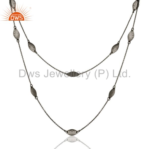 Exporter Black Oxidized 925 Sterling Silver Handmade Art Deco Chain Necklace Jewellery