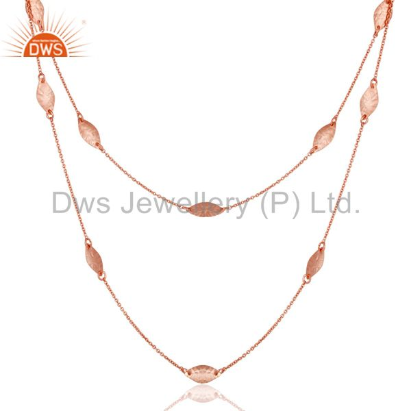 Exporter 18L Rose Gold Plated Sterling Silver Handmade Art Deco Chain Necklace Jewellery