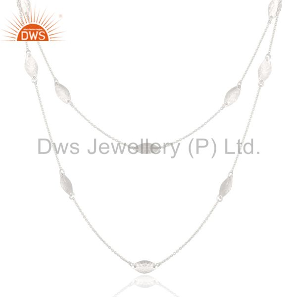 Exporter Solid 925 Sterling Silver Handmade Art Deco 20 Inch Chain Necklace Jewellery