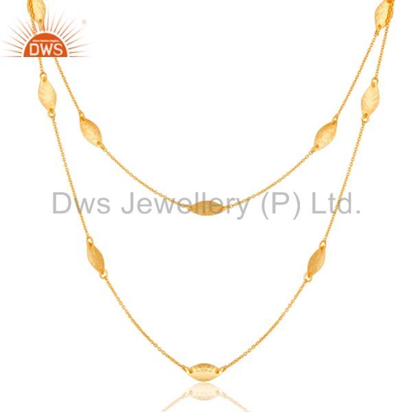 Exporter 22K Gold Plated 925 Sterling Silver Handmade Art Deco Chain Necklace Jewellery
