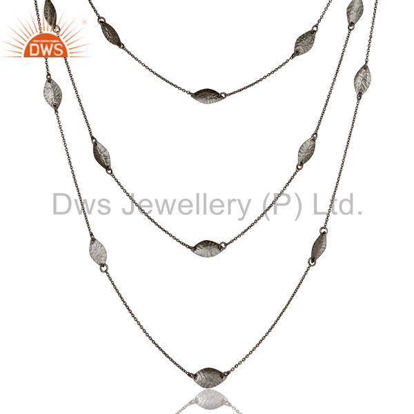 Exporter Black Oxidized Sterling Silver Handmade Art Deco Chain Necklace Jewellery 24