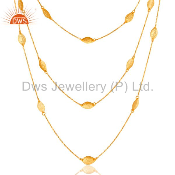 Exporter 18K Gold Plated Sterling Silver Handmade Art Deco Chain Necklace Jewellery 24