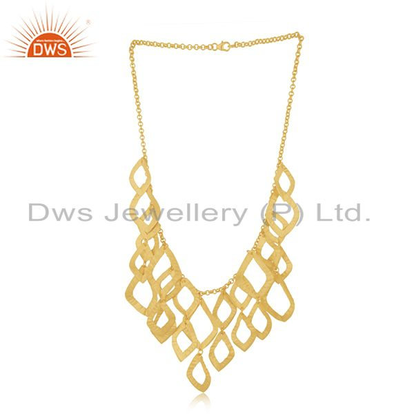 Exporter 22K Yellow Gold Plated Sterling Silver Cutout Petals Bib Necklace