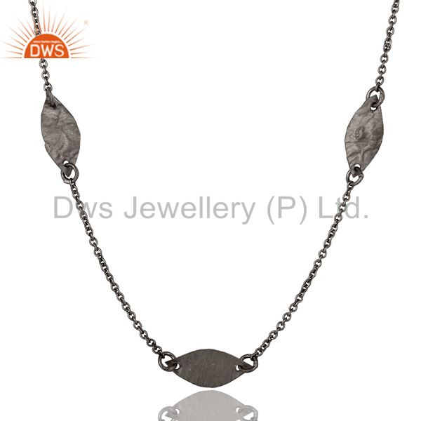 Exporter 925 Sterling Silver With Oxidized Hammered Petals Chain Necklace