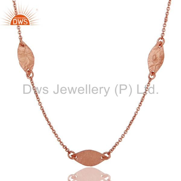 Exporter 18K Rose Gold Plated Sterling Silver Hammered Petals Chain Necklace