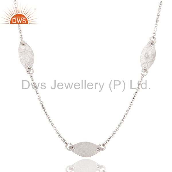 Exporter 925 Sterling Silver Hammered Petals Chain Necklace