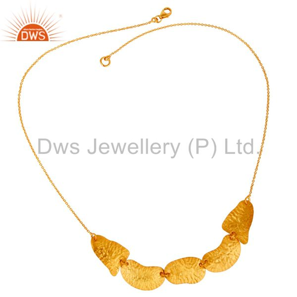 Exporter 22K Yellow Gold Plated Sterling Silver Hammered Petals Chain Necklace