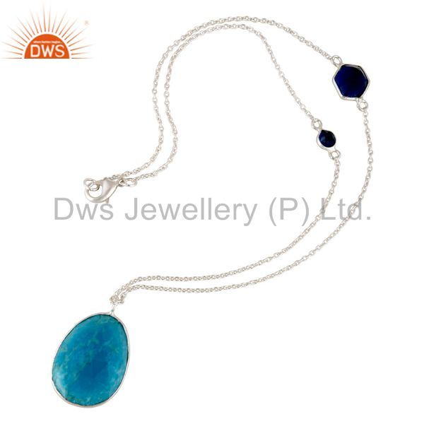 Wholesalers Sterling Silver Overlay Turquoise with Blue Corundum Connector Chain Necklace