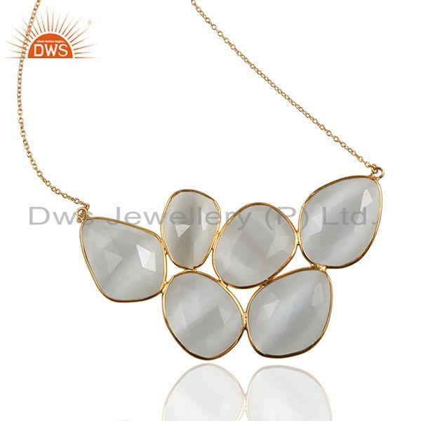 Exporter 18K Yellow Gold Plated Sterling Silver White Moonstone Bezel Set Necklace