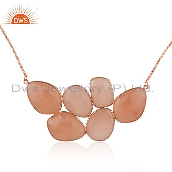 Exporter 18K Rose Gold Plated Sterling Silver Rose Chalcedony Bezel Set Necklace